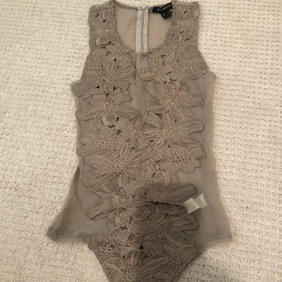 Mesh bodysuit with flowers